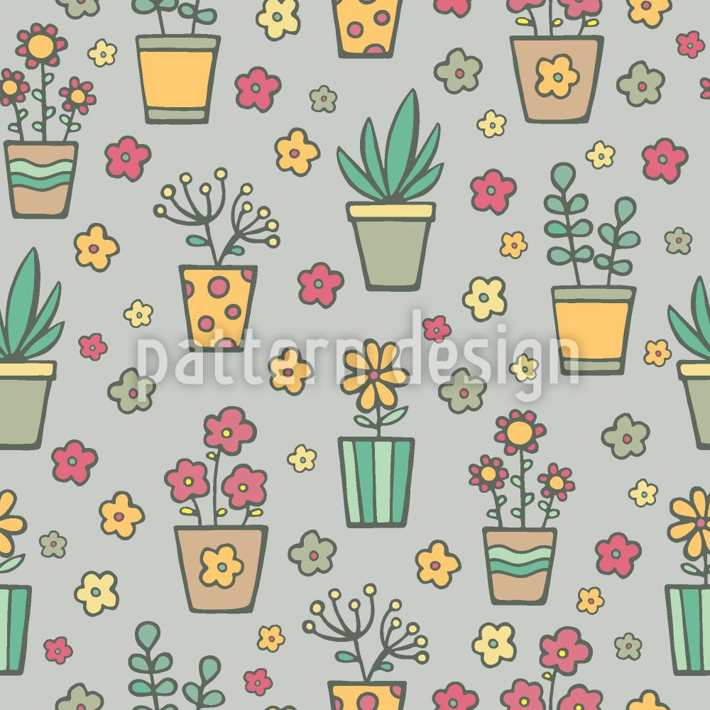 Pattern Wallpaper Potted Plants And Flowers