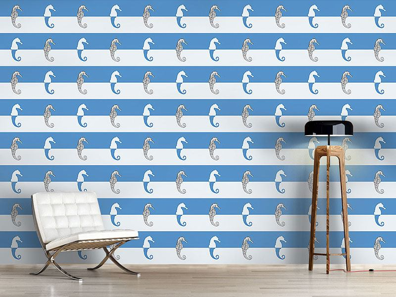 Pattern Wallpaper Seahorses On Blue Stripes
