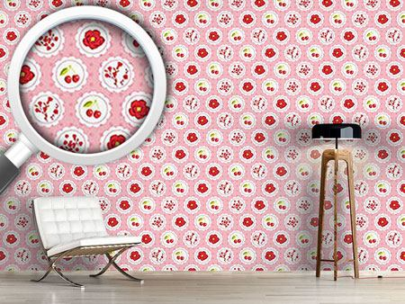 Pattern Wallpaper Grannys Cherry Garden Pink