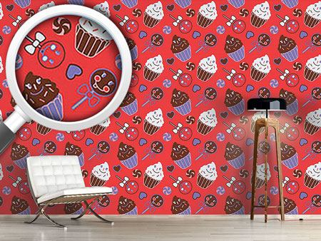 Pattern Wallpaper Happy Desserts Red