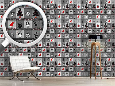 Pattern Wallpaper Christmas Dream Anthracite