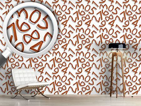 Pattern Wallpaper Wooden Numbers