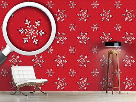 Pattern Wallpaper Silver Flakes Red