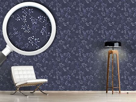 Pattern Wallpaper Twiggy Dark Blue