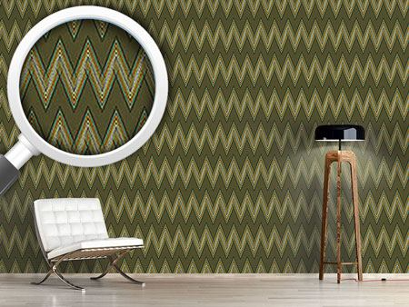 Pattern Wallpaper Zig Zag Green