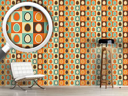 Pattern Wallpaper Retro Eggs