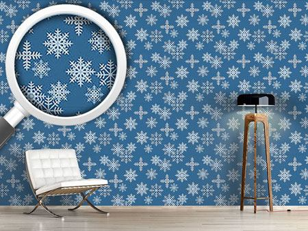 Pattern Wallpaper Ice Crystals Blue