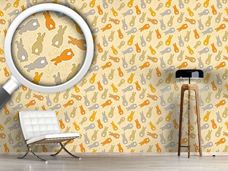 Papier peint design Bouncing Bunnies Yellow
