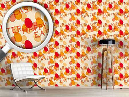 Papier peint design Happy Easter Red