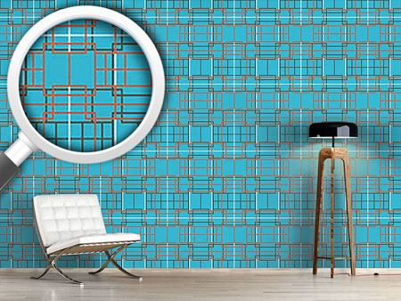 Papier peint design Asian Lattice Turquoise