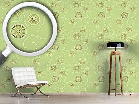 Papier peint design Aboriginal Twirls Green