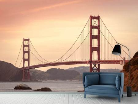 Photo Wallpaper Golden Gate Bridge in the evening light