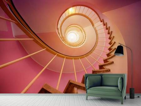 Photo Wallpaper Spiral staircase in pink