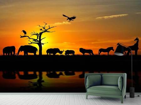 Photo Wallpaper Safari Animals At Sunset