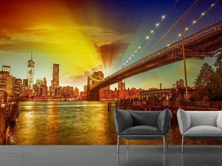Photo Wallpaper Skyline Brooklyn Bridge NY