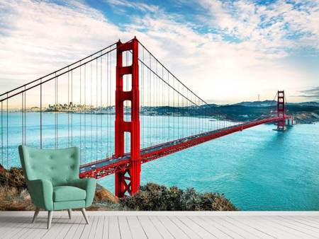 Photo Wallpaper Red Golden Gate Bridge